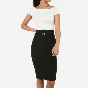Express Black Belted High Waisted Pencil Skirt